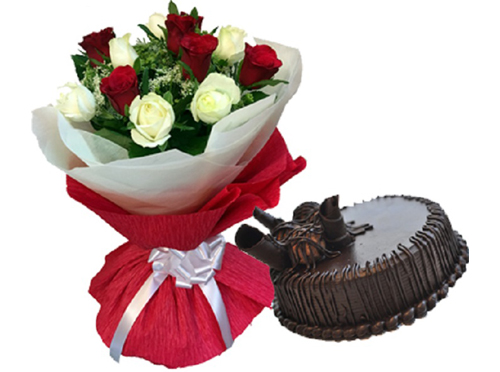 Red & White Roses With 1/2kg Choco